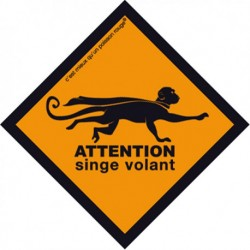 Boutique-Originale : Sticker - Attention singe volant (petit)