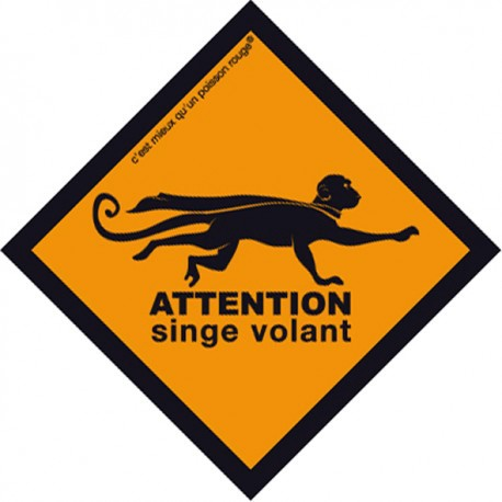 Boutique-Originale : Sticker - Attention singe volant (petit)