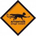 Sticker - Attention singe volant